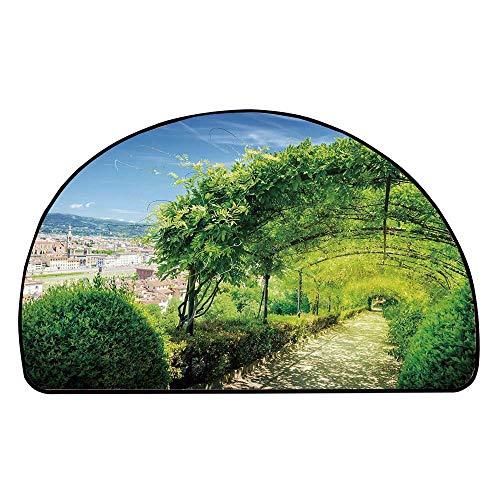C COABALLA Italian Decor Comfortable Semicircle Mat,Boboli Gardens in Florence Italy Famous Natural Landmark Tourist Attraction for Living Room,11.8