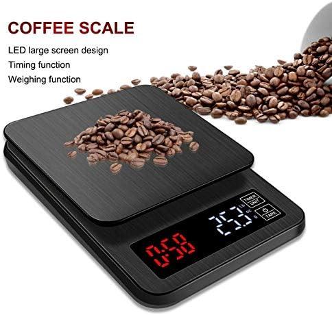 PRWJH Bilancia da Cucina Digitale da Cucina, Bilancia da caffè con Schermo LCD Timer per Cottura, 5 kg / 0,1 g