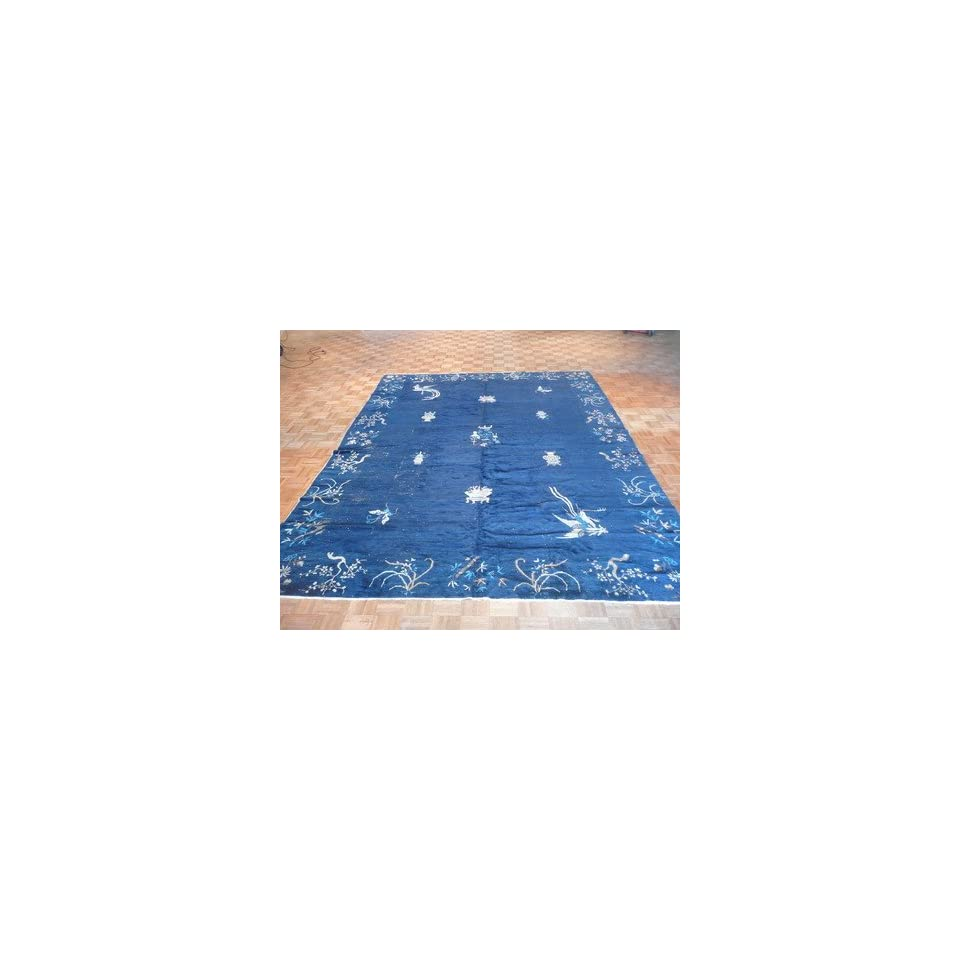 92 x 115 ANTIQUE ART DECO CHINESE RUG BLUE