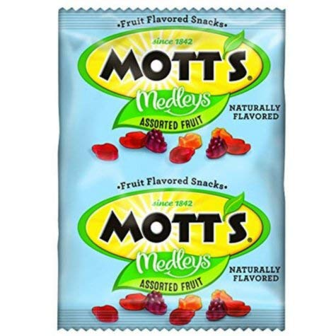 - Mott's Medleys Assorted Fruit Flavored Snacks 80 Pouches 4lb