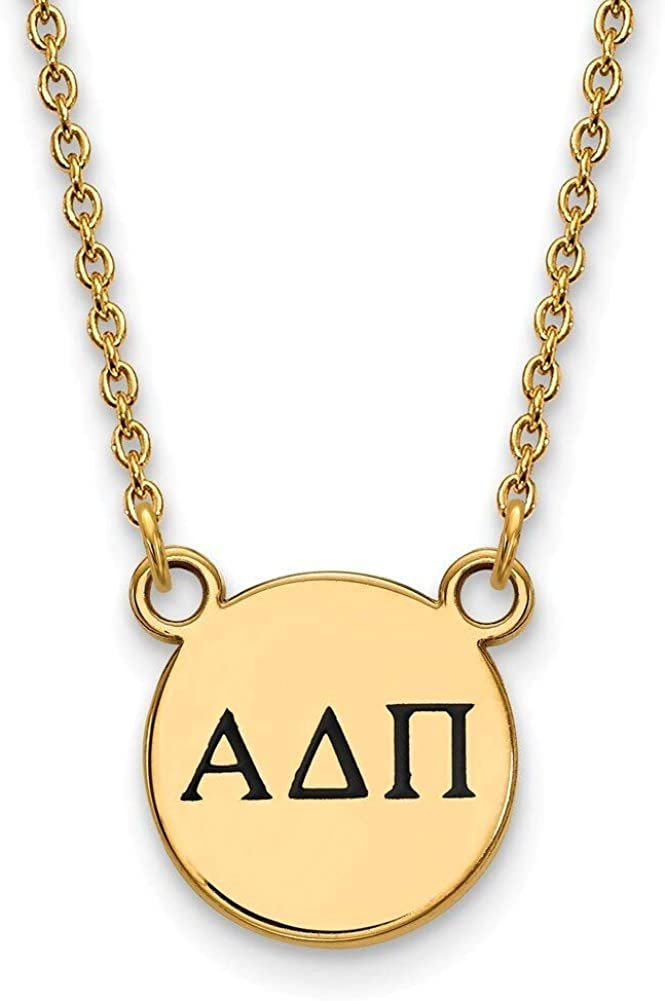 Lex /& Lu LogoArt Gold Plated Sterling Silver Alpha Delta Pi Sm Enamel Pend w//Necklace LAL157692