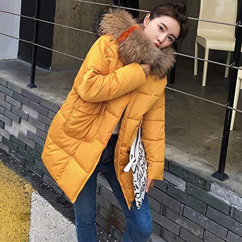 Veste Parka longue Rembourrée Coat À Femme Capuche Outwear Fourrure Manteau Poachers Avec Doudoune Jaune Long Blouson Hiver Mi Mi anqxOFvg7