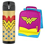 Thermos 16 Ounce Stainless Steel Commuter Bottle and Wonder Woman with Cape Dual Compartment Lunch Kit