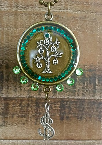 Rich Spiritual Life (Money Tree Dollar Sign Abundance Attractor Swarovski Crystal Resin Pendant)
