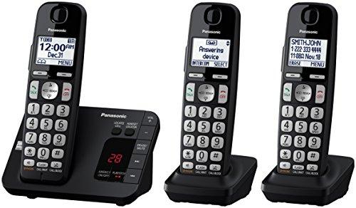 Panasonic KX-TGE433B Cordless Phone with  Answering Machine- 3 Handsets