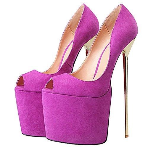 OCHENTA Womens Open-Toe Super High Metal Heel Suede Cross Dress Shoes Purple ns5o8