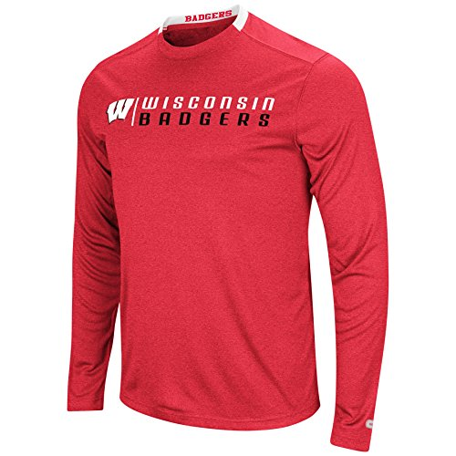 - Colosseum Men's NCAA-Hypno Long Sleeve Tech Tee-Wisconsin Badgers-Heathered Cardinal-XL