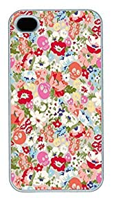 IPhone 4S Cases Cartoon Floral Skull Pattern HAC1014095 Polycarbonate Hard Case Back Cover for iPhone 4/4S White