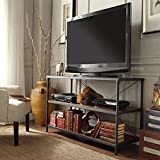 TRIBECCA HOME Harrison Industrial Rustic Pipe Frame TV Stand, Finish: Brown
