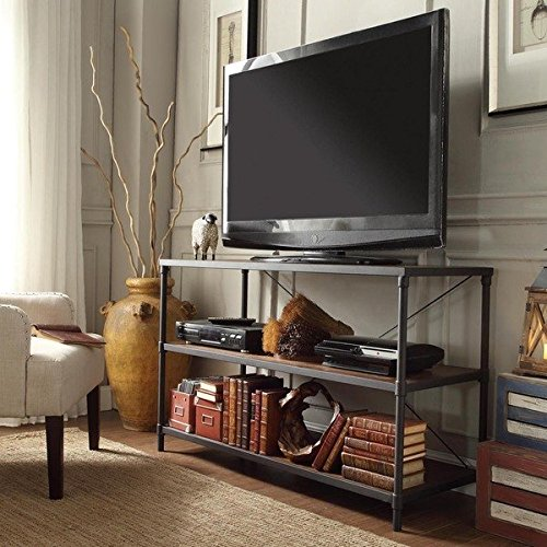 TRIBECCA HOME Harrison Industrial Rustic Pipe Frame TV Stand, Finish Brown