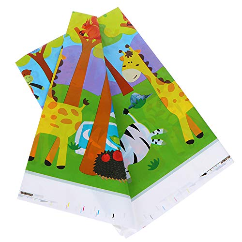 (Jungle Safari Animals Plastic Tablecloth - FZR Legend Jungle Safari Animal Theme Party Supplies | 42 x 70 inches,Disposable Table Cover | Jungle Safari Forest Zoo Birthday Party Decorations for)