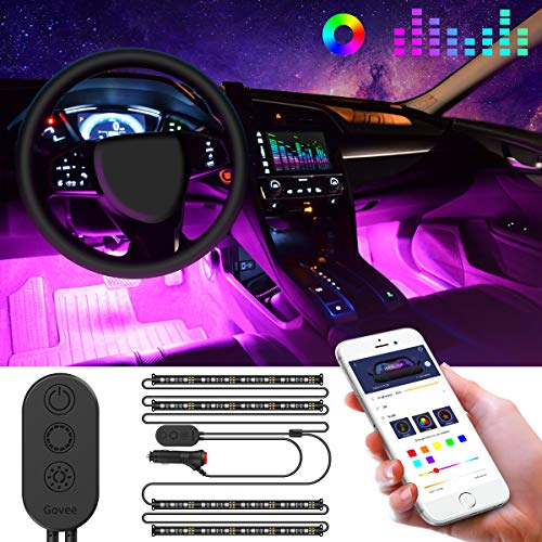 Govee Unifilar Car LED Strip Light, MINGER APP Controller Car Interior Lights, Waterproof Multicolor Music Under Dash Lighting Kits for iPhone Android Smart Phone, Car Charger Included, DC 12V (Truck Light Accessories)