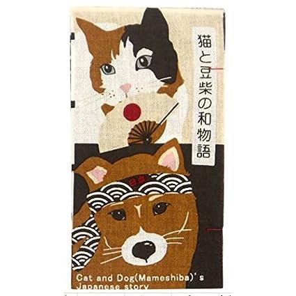 hamamonyo Japón historia de Calico Gato y un Shiba Inu Chusen Tenugui toalla