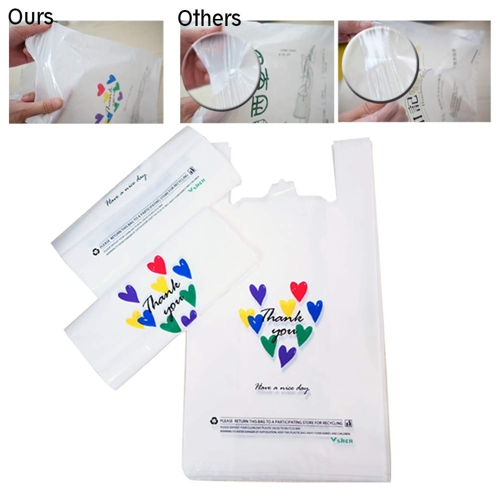 VSHEN T-Shirt Plastic Thank You Bag with Handle11.5'' x 6.25'' x 21'' Shopping Bag Durable and Recyclable
