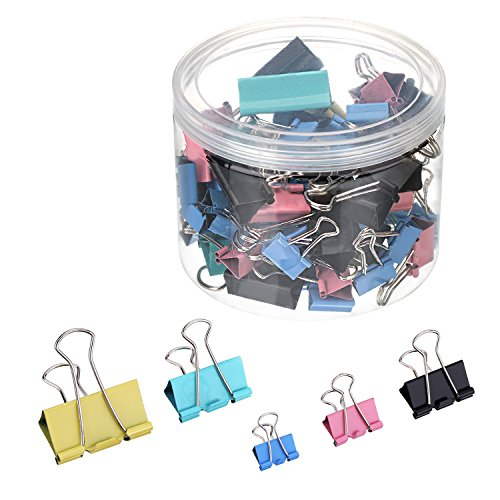 Outus Binder Clips Assorted Sizes 72 Pieces (Multicolor)