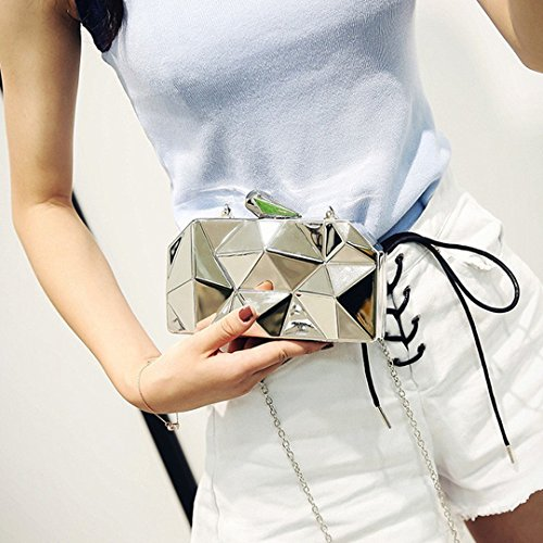 Clutch Sliver Metal Metal Women Girls Pattern Lattice Purse Fashion Bling Handbag 1TCq8ZZc