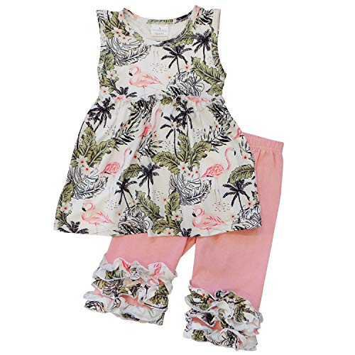 So Sydney Girls Toddler 2-4 Pc Novelty Spring Summer Top Capri Set Accessories (2T (XS), Flamingo Palm) -