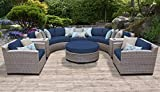 TK Classics FLORENCE-08e-NAVY 8 Piece Outdoor Wicker Patio Furniture Set, Navy Review