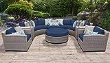 TK Classics FLORENCE-08e-NAVY 8 Piece Outdoor Wicker Patio Furniture Set, Navy
