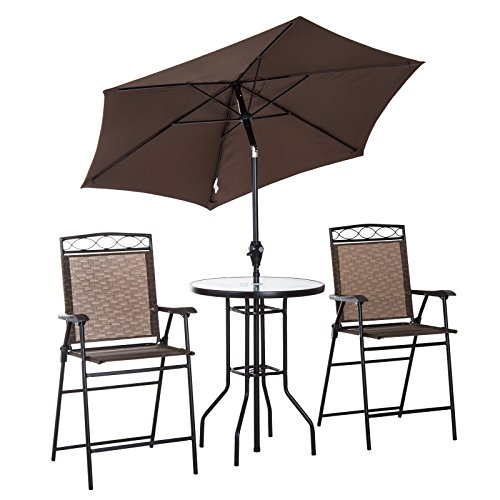 High Top Tables Chairs (Outsunny 4 Piece Folding Outdoor Patio Pub Dining Table and Chairs Set with 6' Adjustable Tilt Umbrella)