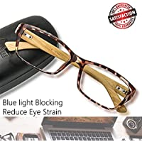Blue Light Blocking Glasses Computer Non Prescription Eyeglasses Frame (8.Bamboo Tortoise)