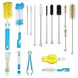 17Pc Food Grade Multipurpose Cleaning Brush Set, Includes Bottle Brush | Pipe Cleaner | Baby Bottle Brush | Straws Brush | for Baby Bottles, Pipe, Water Bottle, Jar, Bird Feeder, Kitchen