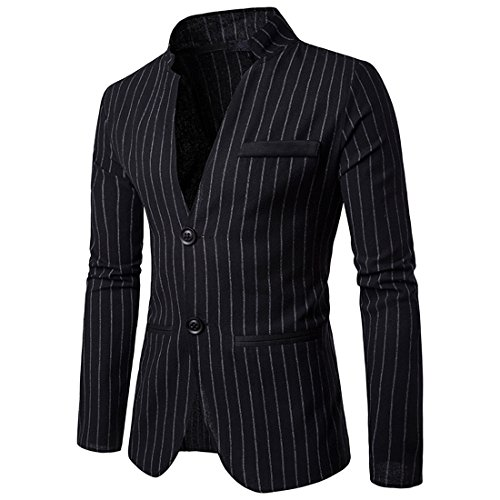 Jacket Blazer Black Pinstripe (Mens Slim Fit Suit Single Breasted Pinstripe Suit Jacket Sport Coat (Black,XL))