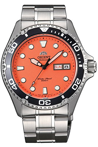 Mens Orange Dial - Orient Ray Raven II Automatic Orange Dial Mens Watch FAA02006M9