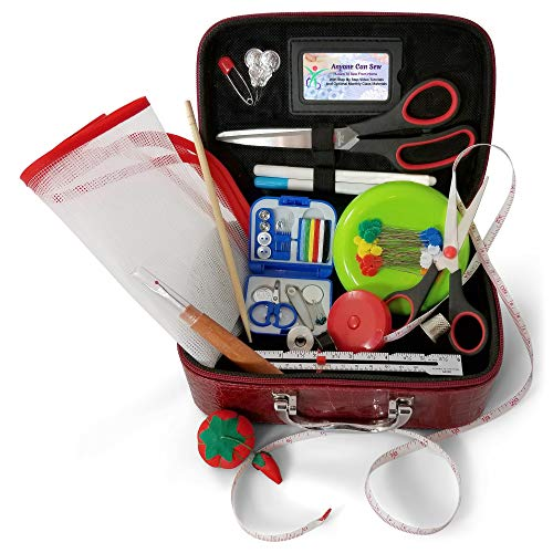(Anyone Can Sew Deluxe Beginner Sewing Kit with Travel Mending Kit and Full Sized Shears for Sewing Machines)