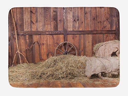 (Ambesonne Barn Wood Wagon Wheel Bath Mat, Rural Old Horse Stable Barn Interior Hay and Wood Planks Image Print, Plush Bathroom Decor Mat with Non Slip Backing, 29.5