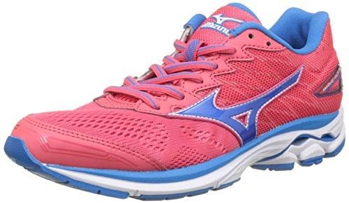 Mizuno Womens Wave Rider 20 Paradise Pink Blue Aster Mesh Trainers 8.5 US