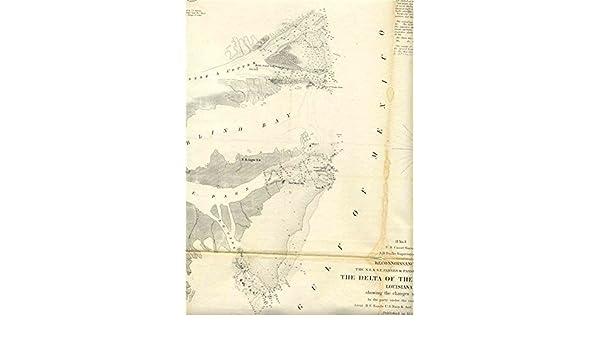 Mississippi And Louisiana Map.Amazon Com Delta Of The Mississippi Passes Louisiana Coast Survey