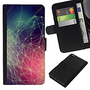 // PHONE CASE GIFT // Moda Estuche Funda de Cuero Billetera Tarjeta de crédito dinero bolsa Cubierta de proteccion Caso HTC DESIRE 816 / Hipster Colors Pattern /