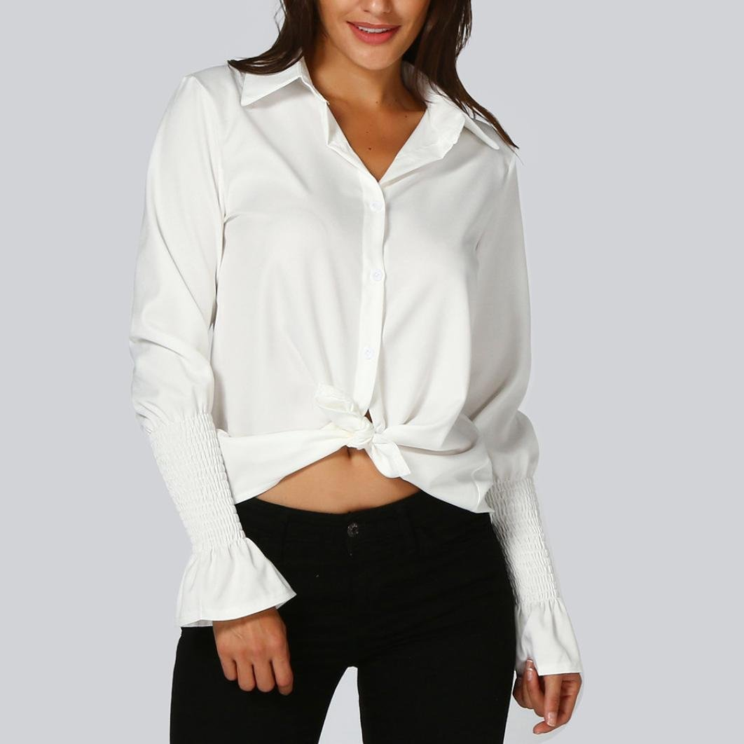 9794a89c7ba Women Office T-Shirt Uniform Long Sleeve White Collar Button Workwear Flare  Solid Blouse Top T Shirt at Amazon Women s Clothing store