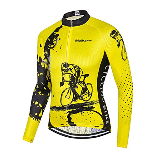 Men's Cycling Jersey Long Sleeve Bicycle Jacket Bike Clothing Quick Dry Breathable Riding Black Yellow Size L ()