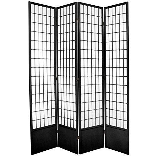 Oriental Furniture 7 ft. Tall Window Pane Shoji Screen - Black - 4 Panels (Lamp Screen Asian)