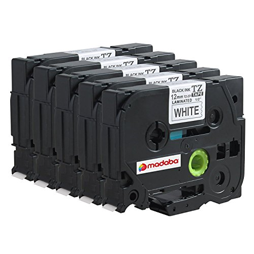 Madabcom 5x Pack compatible for Brother TZE 231 tz 231 tz231 tze231 12mm Laminated tze-231 12mm tz tape 12mm 0.47 Label Black on White 12mm wide x 8 m Length 1/2 inch tze-231pk p-touch label (P-touch Tape Label Printers)