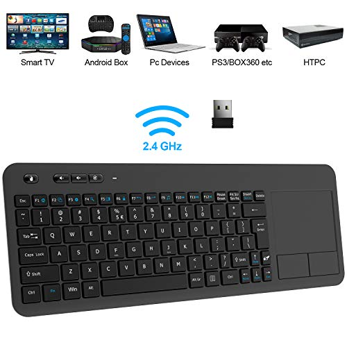 Wireless Keyboard, TedGem 2.4G Wireless Keyboard with Touchpad Keyboard Wireless Soft Touch Keyboard Ergonomic PC Touch Keyboard, Keyboard with Nano USB Receiver for Laptop/Mac/PC/Android TV (Wireless Keyboard And Mouse For Samsung Tv)