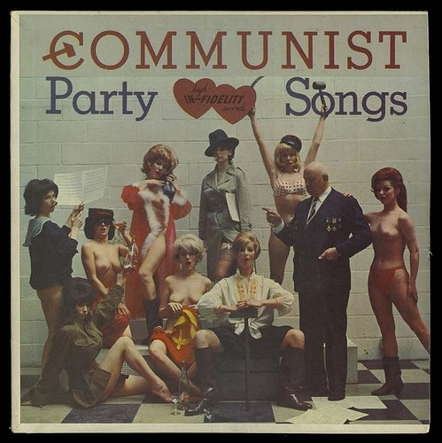 """""""High In- Fidelity"""" Album Cover- As - Greeting Card -Off Color (Nude) : Communist Party Songs (1963)"""