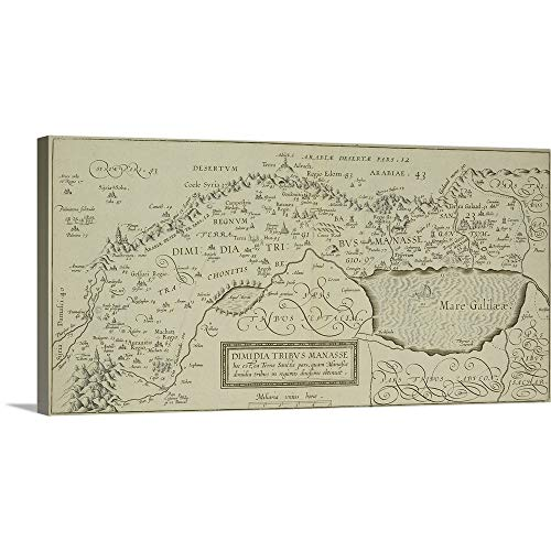 - GREATBIGCANVAS Gallery-Wrapped Canvas Entitled Antique map of The holy Land with The Sea of Galilee by 36