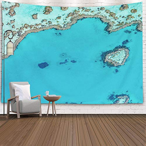 Gesmatic Decorative Wall Tapestry, 80X60 Inches Premium Fabric Great Barrier Reef Above Australia Heart Background Accessories for Home Decoration Bedding Big Hanging Tapestry,Black Green (Best Time To Travel East Coast Australia)