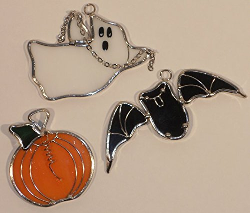 Halloween Ghost Bat and Pumpkin Stained Glass Mini Suncatchers (Set oaf 3) (Ornament Halloween Glass)
