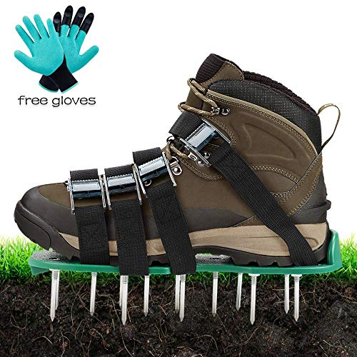 TONBUX Law Aerator Sandals Yard Spike Shoes with 4 Adjustable Straps and Heavy Duty Yard Grass Aerator with Garden Gloves