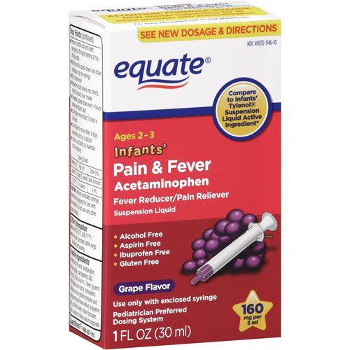 Equate - Infants' Pain & Fever Acetaminophen 160 mg, Suspension Liquid, Grape Flavor 1 ()