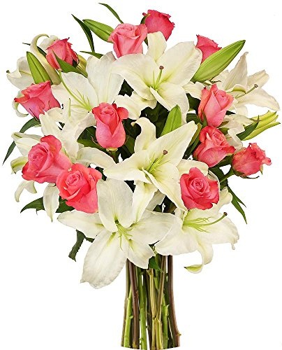 - Benchmark Bouquets Light Pink Roses and White Oriental Lilies, No Vase