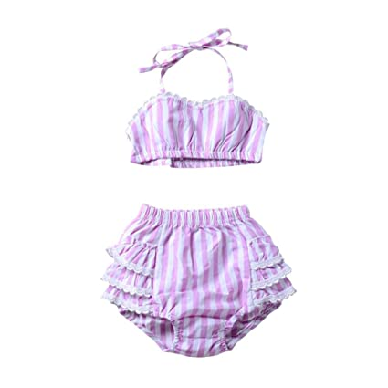 24fb651c0bdcf asiproper Toddler Baby Girls Stripe Split Swimwear Children Beach Halter Swimsuit  Bikini Set Two Piece Bathing