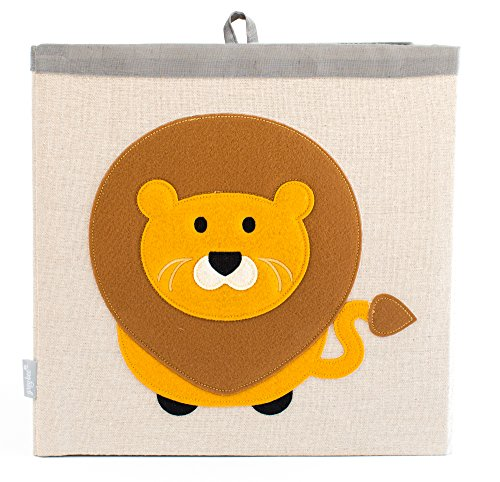 Large Collapsible Cube Storage Bin :: 100% Jute Canvas Toy Basket for Baby Items, Kids Clothes & Much More, 13 x 13 Square, with Adorable Felt Animal Design, Lion, Beige by Grey Bee