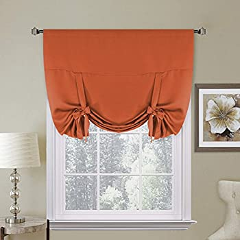 H.Versailtex Thermal Insulated Blackout Kitchen Curtains Tie Up Window  Shades (Rod Pocket Panel