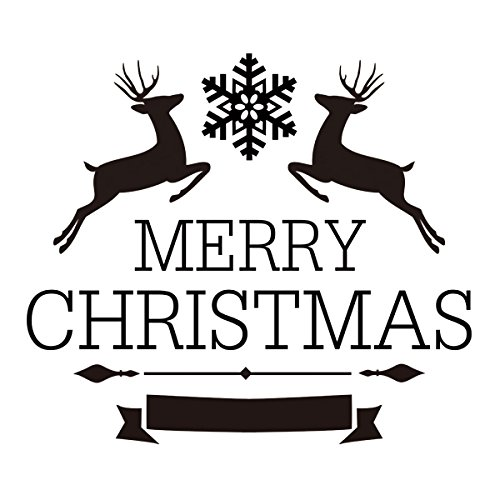 amazoncom deer merry christmas wall decal vinyl christmas quote merry christmas wall sticker home art decoration black home kitchen - Merry Christmas Black And White