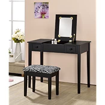 Amazon Com Contemporary Vanity Set With Flip Mirror Top